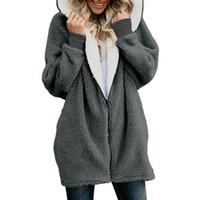 ingrosso ponticelli di pelliccia-Donne Cardigan Giacche da donna Cappotto invernale da donna Caldo maglione in pile Faux Fur Coat con cappuccio Outwear manteau Femme Plus Size 4XL
