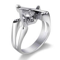 amerikanische freimaurerringe großhandel-Neue europäische und amerikanische Edelstahl Männer Ring Persönlichkeit Freimaurer Kirche Finger Ring Mannes Ring Casting Titan Stahl Schmuck