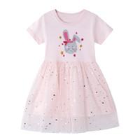 çocuklar için kısa yazlık elbiseler toptan satış-Hayvan Aplikler Kız Bebek Giyim ile Tasarımcı Çocuk Giyim için Kız Casual Short Sleeve Çizgili tişört elbise şirin yazlık Pamuk Elbise