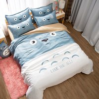 Wholesale totoro bedding resale online - Japanese Anime Lucky Cat My Neighbor Totoro Kawaii Bedding Set Twin Queen King Duvet Cover Bedsheets for Children Boys and Girls