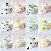 Wholesale printing cotton muslin resale online - 8 layers Baby Newborn INS print Bibs Infant Triangle Scarf Toddlers muslin Cotton Bandana Burp Cloths colors C4834