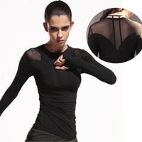 бамбуковые женские рубашки оптовых-Женщины Yoga Топ с длинным рукавом Yoga Shirts Спортивная рубашка Женщины Fitness Gym Shirt Спортивная одежда для T # 340686