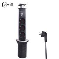 ups de escritorio al por mayor-COSWALL 16A PULL POP UP 3 Toma de corriente 2 Puerto de carga USB Mesa de cocina Zócalos de escritorio Encimeras retráctiles Encimera de trabajo Enchufe de la UE