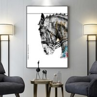 Wholesale horse canvas prints resale online - Nordic Style Canvas Painting Abstract Architecture Horse Vintage Prints Poster Wall Art Home Decor Living Room Modular Pictures