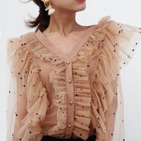 camisa pontilhada camiseta venda por atacado-Bolinhas Ruffles Patchwork Mulheres Blusa V Neck Perspectiva Flare Sleeve Camisas Femininas Casual Moda Primavera Coreano