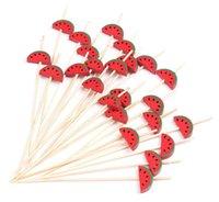 geschirrhersteller großhandel-vent Einweggeschirr Party Kostenloser Versand - Party Suppliers Einweggeschirr, 120 mm Cocktail Red Watermelon Bamboo Pick Fruit Sk ...