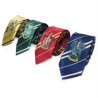 pajaritas de punto para hombre al por mayor-Moda Harry Potter Tie Cartoon hombres de negocios corbata de la raya de la mujer ropa accesorios universidad corbata de lazo Cosplay regalos TTA1075