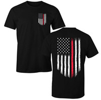 forro rojo al por mayor-Fantastic Tees Thin Red Line Firefighter USA Flag camiseta para hombre
