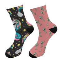 Wholesale fun tube resale online - Crazy Fun Cool D Print Unicorn Colorful Long Socks Men Alien Funny Crew Sport Socks Novelty Women Tube Kawaii Pink