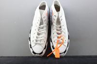 cordón negro de los hombres al por mayor-OFF White x Converse Más reciente Stripe OFF Chuck 70 White Bold Orange-Black SHOELACES Taylor 1970S Canvas Hombre Mujer Zapatillas Zapatos de moda Casual 162204C