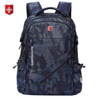 Wholesale swiss travelling bags resale online - Anti thief USB Charging Laptop Backpack Men Swiss Oxford bagpack Waterproof Travel Backpack Female Vintage School Bag inchMX190903