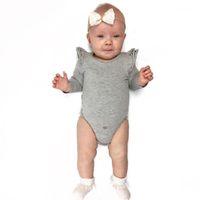 kıpkırmızı romper toptan satış-Yenidoğan Kız Bebek Tulum Yuvarlak Boyun Katı Renk Uçan Kollu Pamuk Romper Yumuşak Bebek Tasarımcı Tulumlar 48