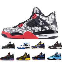 chaussures de basket-ball pour hommes noires achat en gros de-4 4s Tattoo graffiti en noir et blanc Cactus Jack Raptors Chaussures de basketball pour homme Kaws Travis Scotts Monarchie Monarchie Brûlé au Feu Baskets Hommes rouges