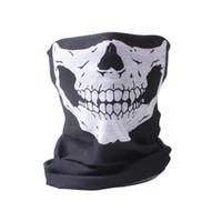 bufandas de las pc al por mayor-5 PCS por lote Tactical Airsoft cara y cuello bufanda de Halloween esqueleto Patter bufanda media cara pasamontañas máscara