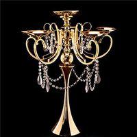 ingrosso decorazioni candelabri-Alto metallo 5 braccio candelabro lampadario votiva portacandele in oro tavolo da sposa centrotavola decorazioni forniture