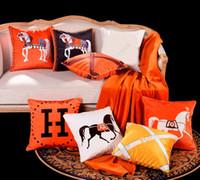 ingrosso cuscino originale-Cashmere Pillow fashion Brand lana originale Living room divano Ins cuscino cuscino divano casa Luxury Velvet Horse H cuscino federa