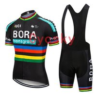 gel pads ciclismo shorts venda por atacado-Bora 2019 Preto Ciclismo Jersey bib shorts Uniforme Bicicleta Roupas Bicicleta Desgaste Roupas Homens Curto 9D Gel Pad Maillot Culotte Terno