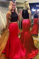 siyah kırmızı nedime önlük toptan satış-Örgün İki Adet Siyah Üst ve Kırmızı Mermaid Etek Abiye Gelin Kıyafeti Özel Durum Balo Nedime Parti Elbise 17LF14