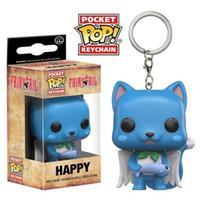 ingrosso pop felice-Funko Pop Fairy Tail Happy portachiavi Mini chiavi Fibbia Anime Figure Anelli PVC Simpatici giocattoli Pendente 12hxa O1