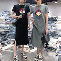 tamaño de vestido gordo al por mayor-Diseñador Vestido de mujer Vestido de manga corta Mujer Verano 2019 Nueva sección larga floja ocasional sobre la rodilla Gran tamaño Fat Sister camiseta falda