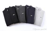 prendas de punto de calidad al por mayor-Los nuevos hombres de la rebeca de géneros de punto cocodrilo Logotipo de la cremallera suéter caliente de alta calidad con capucha otoño invierno casual con capucha