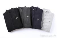 camisola de hoodie casual venda por atacado-New Cardigan Malha Crocodilo Logotipo Dos Homens Camisola Com Zíper Camisola Quente de Alta Qualidade Moletom Com Capuz Camisola Outono Inverno Casaco Com Capuz