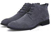 venda de calçados casuais de negócios venda por atacado-Ankle Boots para Homens de Negócios Chukka Mens Botas de Alta venda quente Sapatos Casuais Ao Ar Livre de Couro Dos Homens Sapatos de Inverno Masculino Preto Cinza
