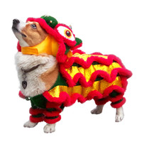 gato corgi venda por atacado-Engraçado cão de estimação roupas de dança do leão traje do gato para cães pequenos médios corgi ano novo clothing tradicional francês bulldog dress up q190523
