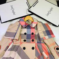 faldas de abrigo coreano al por mayor-chaquetas para niños Cazadoras con capucha Patchwork Moda Casual Prendas de vestir exteriores Chica Falda de hoja de loto Gabardina coreana Otoño Tops Ropa de niña