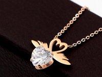 elmas melek kolye toptan satış-Moda yeni melek kanatları şeftali kalp zirkonyum elmas gül altın kolye kişilik hipster kalp şeklinde elmas klavikula zinciri