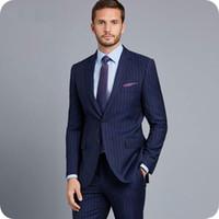 Wholesale new design men formal suit resale online - New Fashion Blue Pinstripe Men Suits Formal Business Man Blazers Piece Groom Tuxedos Slim Fit Male Outfit Latest Designs Costume Homme