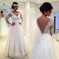 Wholesale black tull dresses for sale - Custom Made A Line Wedding Dresses Sexy V Neck Long Sleeves Backless Sweep Train Tull And Lace Bridal Gowns Cheap New Fashion