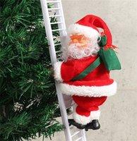 ingrosso piccolo babbo natale di plastica-Musica elettrica scala di risalita Babbo Natale Figurine ornamento partito Xmas Tree fai da te Crafts Festival Navidad 2020 regalo del giocattolo del capretto C112205