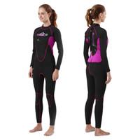 yüzme neopren kıyafeti toptan satış-Tüplü Dalış Wetsuit kadınlar 3mm Dalış Takım Neopren Yüzme Wetsuit Sörf Triatlon dalış Islak Elbise sıcak Mayo Tam Bodysuit
