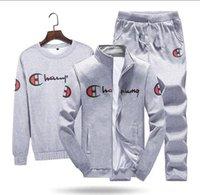 fato cinza venda por atacado-2019 CHMAPION Mens Outono agasalhos Define Jogger Jackets com terno de calças de Hip Hop Preto Grey Fatos Designer