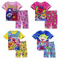 Wholesale baby boy clothes online - Baby Boys Girls Sleepwear Clothes Kids Clothing Christmas Pajamas Sets High quality Christmas Shark Printing Pajamas MMA1456
