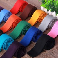 halsbindung fest großhandel-Mode Gestrickte Krawatten 20 Farben Männer Einfarbig Hochzeit Business Krawatten Oudoot Reise Krawatte Party Festival Geschenk TTA1495