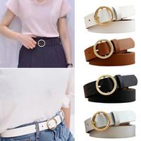 cinturón redondo negro pu al por mayor-Cinturón de metal redondo dorado para mujer Cinturones de cintura de cuero PU plateados dorados Negros y blancos para mujeres Pantalones vaqueros para niñas