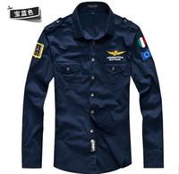 aeronautica militare air force one al por mayor-Nueva camiseta casual para hombre de moda Aeronautica militare Air Force One, camisa de manga larga para hombre de marca para hombre
