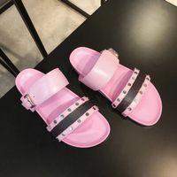 modell flache sandalen großhandel-Neueste PASSENGER Sandale Luxus bom BOM DIA FLAT MULE Designer Dame Herren Bunte Leinwand Brief Anatomic Leder Dia 8 Stil Modell H01