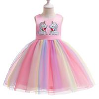 Wholesale child sequin vest resale online - Baby Girls Unicorn Print Dress New Summer Kids Princess Wedding Sequin Unicorn Sleeveless Vest Gauze Dress Children Fashion Party Dress