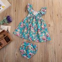 roupas de bebê menina vintage venda por atacado-2019 Adorável Verão Infantil Baby Girl Cotton Plissado Floral Vestido Flor Vintage Vestido Outfits Roupas Set