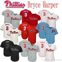 beyaz formaları beyzbol toptan satış-2019 Yeni Phillies 3 Bryce Harper Forması Erkek Kadın Gençlik Beyzbol Haftasonu Arp Formalar Dikişli Beyaz Kırmızı Gri Krem Mavi