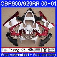 honda cbr 929 carenados rojo al por mayor-Cuerpo para HONDA CBR900 RR CBR 929 RR CBR 900RR CBR929RR 00 01 279HM.15 CBR 929RR CBR900RR CBR929 RR Kit rojo oscuro blanco caliente 2000 2001 Carenados