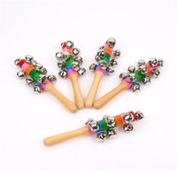 Wholesale hand stick baby rattle resale online - Wooden Stick New style Jingle Bells Rainbow Hand Shake Sound Bell Rattles Baby Educational Toy cm DA096