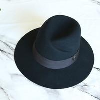 Wholesale wedding fedoras for sale - Group buy Classical Black Wide Brim Women Hat Australian Wool Fedora Hat Ladies Panama Cloche for Wedding Dress Hats Warm Floppy