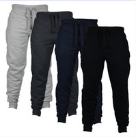 Wholesale new boy fashion trousers for sale - Group buy 4 Colors Jogger Pants Skinny Men New Fashion Long Pants Solid Color Outdoor Running Casual Pants Boys Trousers