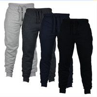 брюки сплошного цвета для мужчин оптовых-4 Цвета Jogger Брюки Тощие Мужчины Новая Мода Длинные Брюки Сплошной Цвет Открытый Бег Случайные Брюки Брюки Мальчики