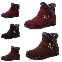 piercing no tornozelo venda por atacado-Não marca de moda mulheres inverno botas Triplo Black Red Brown camurça botas de neve tornozelo ao ar livre sapatos confortáveis 35-40 Estilo transporte 13 gota