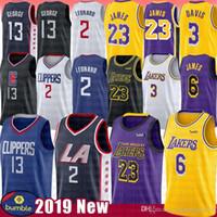 camisa 23 venda por atacado-Kawhi NCAA 2 Leonard Jersey LeBron 6 James Anthony 23 Davis Paul 13 George 2019 Novo Mens Bordado Universidade Camisas De Basquete